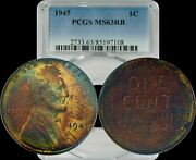 1945 Lincoln Wheat Cent Penny 1c Pcgs Ms63rb Rainbow Color Toned Gem