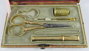 Antique French Red Leatherandgold Gilt Etui Box Case 18k Yellow Gold Sewing Tools