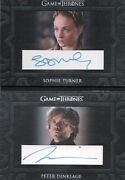 Game Of Thrones Season 8, Dinklage / Turner Dual Booklet Autograph Card Dca1