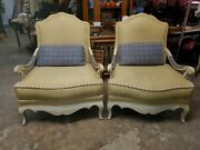 Oversized Drexel Heritage 2 French Bergeres Or Lounge Chairs - Down