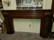 Antique Mahogany Large Fireplace Mantle - Carved Solid Mahogany