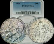 1961 Roosevelt Dime Pcgs Ms66 Light Brown/blue/yellow Toned Coin