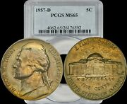 1957-d Jefferson Nickel Pcgs Ms65 Highly Sought After Toning And Year
