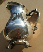 Water Pitcher Wm Rogers 817 Star Eagle Ice Lip 4 Footed Silver Plate