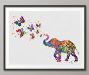 Elephant Spraying Butterfly Art Print Watercolor Painting Wedding Gift Idea 1