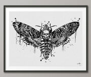 Deaths Head Hawk Moth Watercolor Print Gothic Insect Collectable Geek Nerdy Art