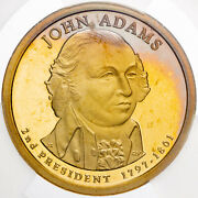 2007-s Presidential Dollar John Adams Icg Pr69 Dcam First Day Issue Toned Dr