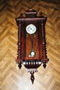 Antique Wall Clock With Battle Beginning Of The 20th Century. Wooden Case.
