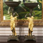 Pair Of Bronze Ladies Holding Dish Overhead With Gold Accents 32