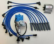 Ford 351c 429 460 Small Female Cap Hei Distributor + Blue 8.5mm Wires + 60k Coil