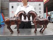 Chinese Zodiac Animal Red Bronze Copper Lucky Auspicious Tang Horse Statue Pair