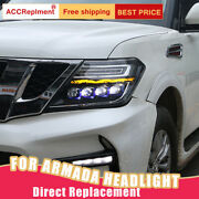 For Nissan Armada 2017-2019 Headlights Assembly Bi-xenon Lens Projector Led Drl