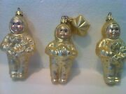 Snowbabies Set Of 3 Blown Mercury Glass Ornaments1 Star/wreaths/gift And Free Cd