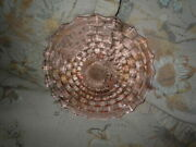 Vtg Fostoria Cubist American Peach Pink Glass Footed Cake Plate 12 1/2