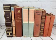 Vintage Book Lot9 Mixed Red/brown/orange Decorative Booksleather Cloth