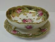 Nippon Porcelain 7.5 Gilded Berry Bowl And 8.75 Matched Plate, Roses