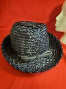 Vintage Designed By Laura Hats Sz L Weave Straw Hat Navy /bow 50s/60s