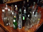 Bulk Lot Of 34 Antique Glass Bottles Late 1800and039s And Up Soda Wine Milk Beer