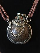 Vintage Silver Bronze Coral And Turquoise Snuff Bottle Necklace