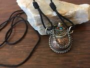 Vintage Silver Bronze And Copper Look Snuff Bottle Rope Necklace