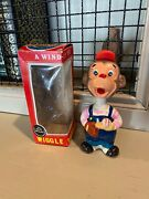 Vintage Alps Japan Wind-up Bobblehead Monkey Baseball Player Toy Works Very Rare