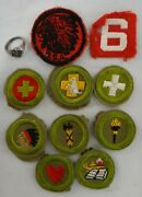 """10 1930's/40's Boy Scouts Of America Cloth Badges + Sterling Bs Ring, Size 6 """"."""