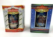 Budweiser Holiday Christmas Beer Stein Lot Of 2 Set From 2001 2002 Nib Vintage