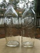Two Antique Baby Milk Bottles Clear, Clean, Embossed, Sonny Boy
