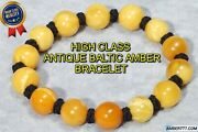 High Class Antique Natural Baltic Yellow White Amber Bracelet 17 G Fedex Shiping