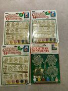 4 Vintage Paint By Number Stained Glass Ornament Kits Craft House Nib Minis Snow