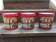 Vintage 1990 Lot Of 3 Nabisco Barnums Animal Crackers Tin Can Pail Bucket Vg