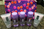 New Clinique 6 Piece Set Makeup Remover3, Rinse Off Foaming Cleanser2, Bag