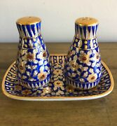 Hand Painted Salt And Pepper Shakers With Under Plate Cobalt Gold And White Floral