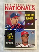 2013 Topps Heritage Christian Garcia 167 Rc Auto Signed Autograph Nationals