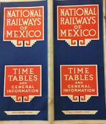 National Railways Of Mexico 1934, Time Tables And General Information Map E8