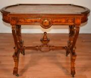 1840s Antique American Victorian Burl Walnut Marble Top Parlor Center Table