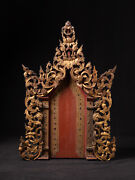 Antique Wooden Burmese Temple Panel From Burma 19th Century