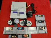 Super Nintendo Snes System Console With 8 Games Star Wars, Zelda, Mario Tested