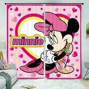 Pink Love Lock Mouse 3d Curtain Blockout Photo Printing Curtains Drape Fabric