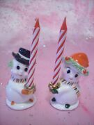 Rare Vtg Napco Christmas Miniature Mr. And Mrs. Snowman Couple W Candle Figurines