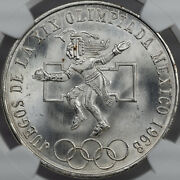 1968-mo Mexico 25 Pesos Silver Even Rings Ngc Ms67 Only 2 Graded Higher Dr