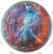 1992 Toned American Silver Eagle Dollar 1 Ase - Pcgs Ms68 - Rainbow Toning