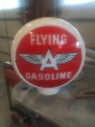 Flying A Gasoline Gas Pump Milk Glass Globe One Piece Body With 2 Lenses