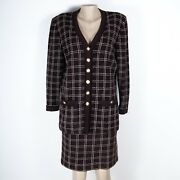 St. John Collection Windowpane Plaid Skirt Suit Textured Knit W Pockets Brown 12