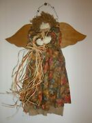 Vintage Handcrafted Primitive Harvest Fall Angel Wall Hanging Thanksgiving Wood