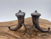 Norway Sterling Silver Viking Horn Salt And Pepper Shakers By Theodor Olsens C1960