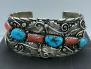 Vintage Navajo M. Tsosie Big Boy Sterling Turquoise And Red Coral Bracelet 98.1g