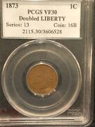 1873 Indian Head Cent Double Liberty Variety Pcgs Vf 30 Very Rare