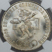 1968-mo Mexico 25 Pesos Even Rings Silver Ngc Ms67 Only 2 Graded Finer Bu Dr