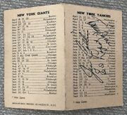 1950 Ny Yankees And Ny Giants Home Schedule Autographed Signed Byrne Collins Lopat